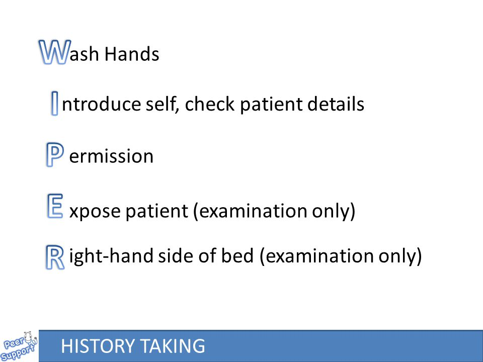 ash Hands ntroduce self, check patient details ermission xpose patient (examination only) ight-hand side of bed (examination only) HISTORY TAKING