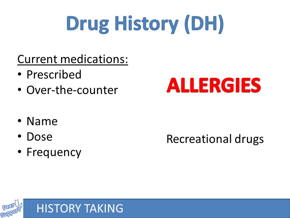 HISTORY TAKING Current medications: Prescribed Over-the-counter Name Dose Frequency Recreational drugs