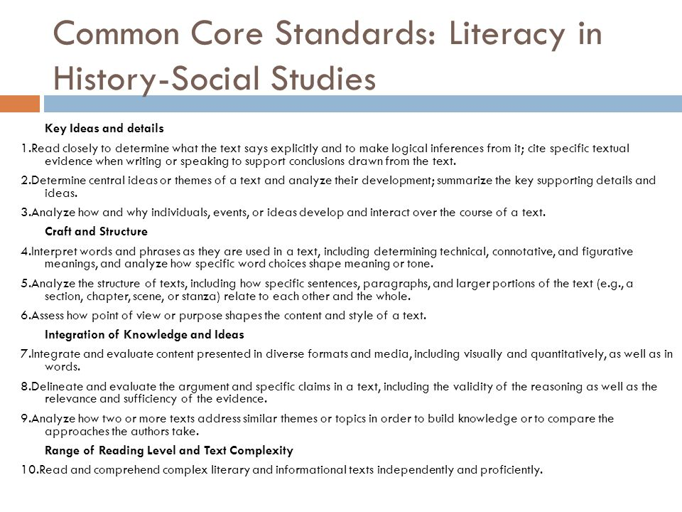 Common Core Standards: Literacy in History-Social Studies Key Ideas and details 1.Read closely to determine what the text says explicitly and to make