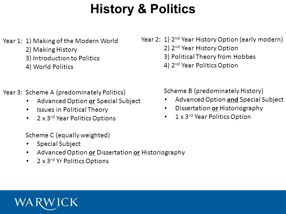 History & Politics Year 1:1) Making of the Modern World 2) Making History 3) Introduction to Politics 4) World Politics Year 3:Scheme A (predominately Politics) Advanced Option or Special Subject Issues in Political Theory 2 x 3 rd Year Politics Options Scheme C (equally weighted) Special Subject Advanced Option or Dissertation or Historiography 2 x 3 rd Yr Politics Options Year 2:1) 2 nd Year History Option (early modern) 2) 2 nd Year History Option 3) Political Theory from Hobbes 4) 2 nd Year Politics Option Scheme B (predominately History) Advanced Option and Special Subject Dissertation or Historiography 1 x 3 rd Year Politics Option