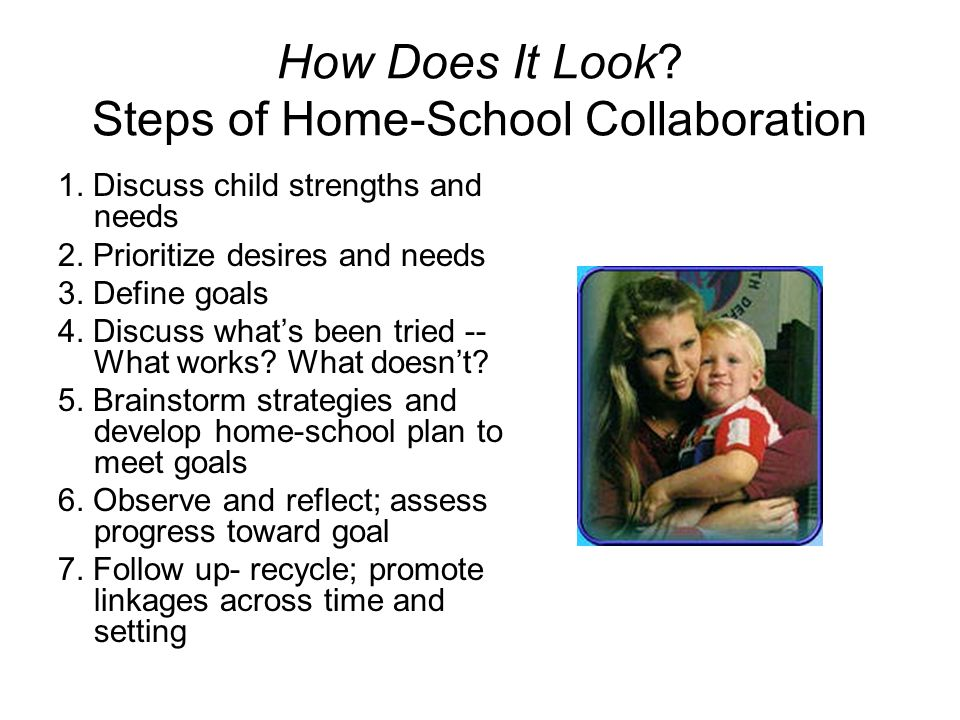 How Does It Look? Steps of Home-School Collaboration 1. Discuss child strengths and needs 2. Prioritize desires and needs 3. Define goals 4. Discuss w