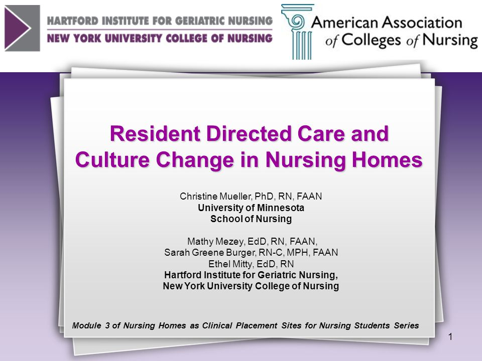 © 2010 The Hartford Institute for Geriatric Nursing, NYU College of Nursing and The American Association of Colleges of Nursing Defining a Home Like Environment Household model: the generic term : Neighborhood: Neighborhood  Small units of 8-20 residents  Consistent staff assignment  Separate dining and living areas  Local (i.e., community) decision making Eden Alternative Eden Alternative : a philosophy of home and practice  Where elders live must be habitats for human beings, not sterile institutions.  Goal: eliminate the 3 plagues of loneliness, helplessness, boredom.  Eden concepts are integrated into different living models : Green House: Green House  Built from the bottom up  Changes in facility size, layout, interior design  Staffing patterns modified to reflect resident needs and preferences  Goal is to eliminate large nursing homes and de- institutionalize LTC