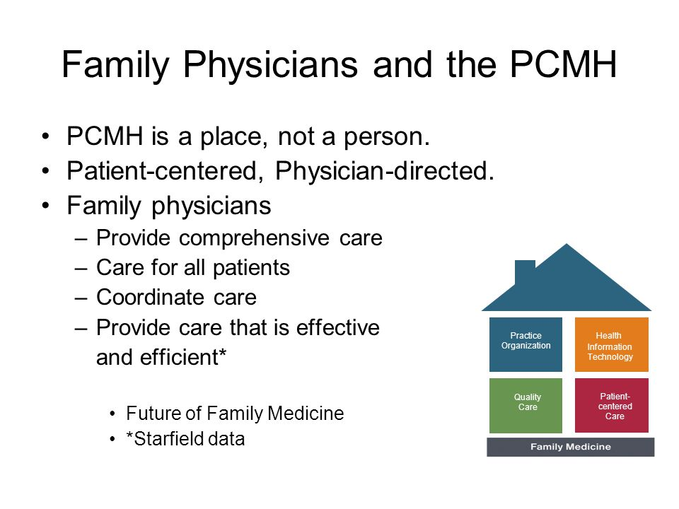 Family Physicians and the PCMH PCMH is a place, not a person.