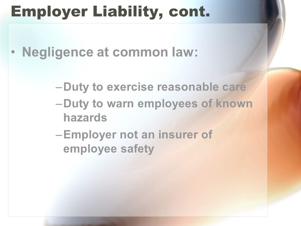 Employer Liability, cont. Negligence at common law: –Duty to exercise reasonable care –Duty to warn employees of known hazards –Employer not an insure