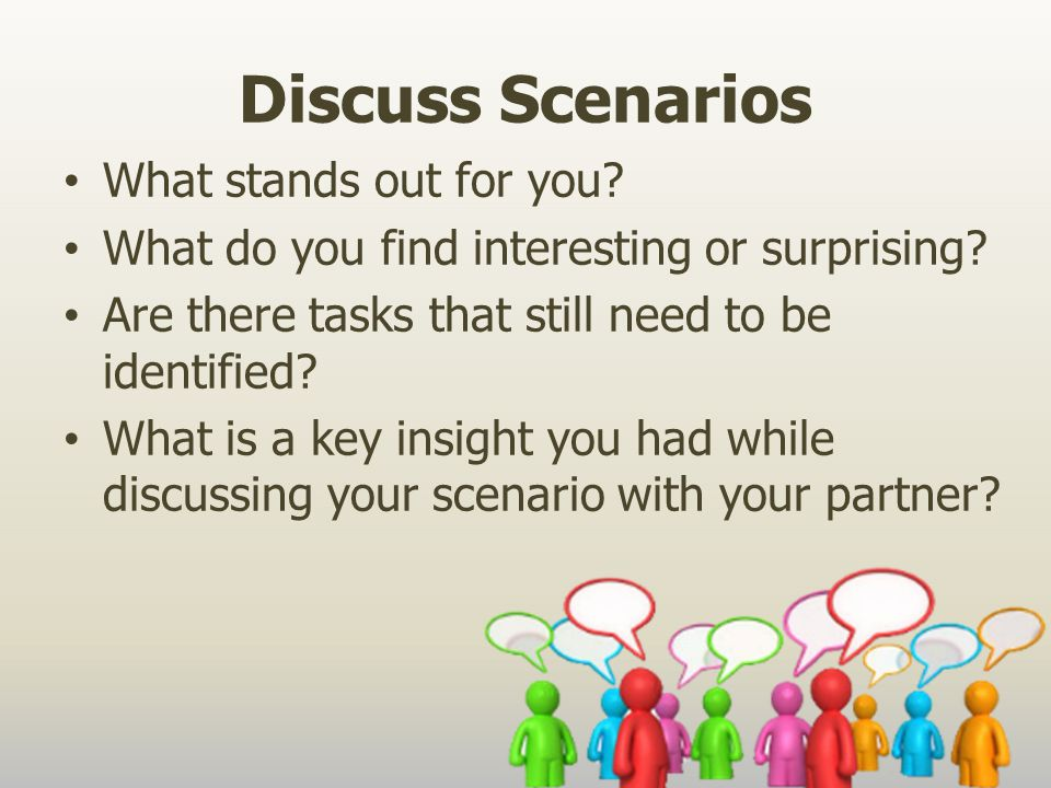 Discuss Scenarios What stands out for you. What do you find interesting or surprising.