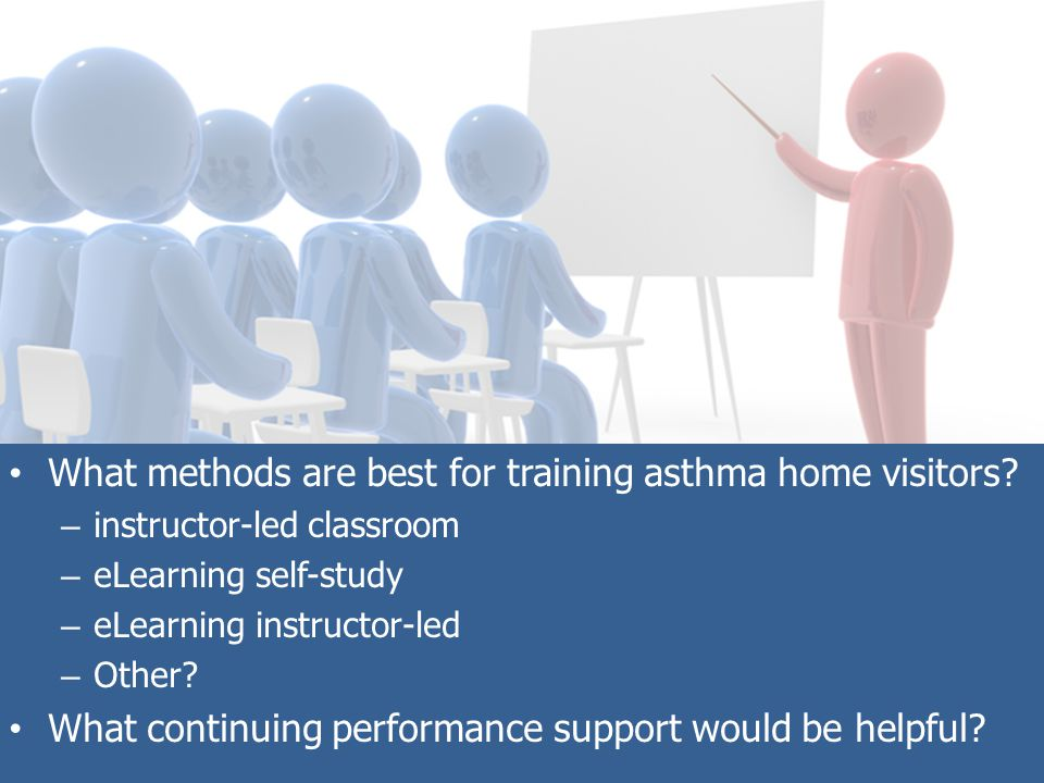 What methods are best for training asthma home visitors.