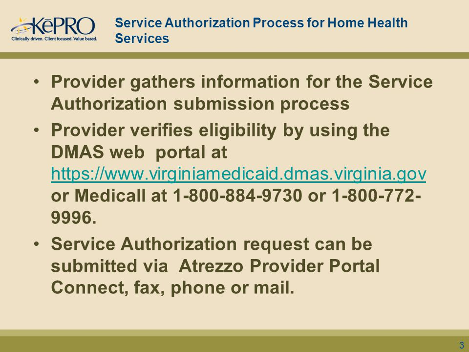 Submission Methods Atrezzo Provider Portal Connect (Registration required) visit https://dmas.kepro.comhttps://dmas.kepro.com Fax at 877-652-9329 Telephone at 888-827-2884 or 804-622-8900 (local Mail to: KePRO 2810 North Parham Rd., Suite 305 Richmond, VA 23284 For questions email ProviderIssues@kepro.comProviderIssues@kepro.com 24