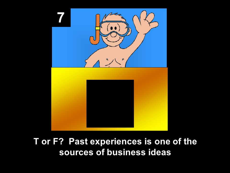 7 T or F Past experiences is one of the sources of business ideas
