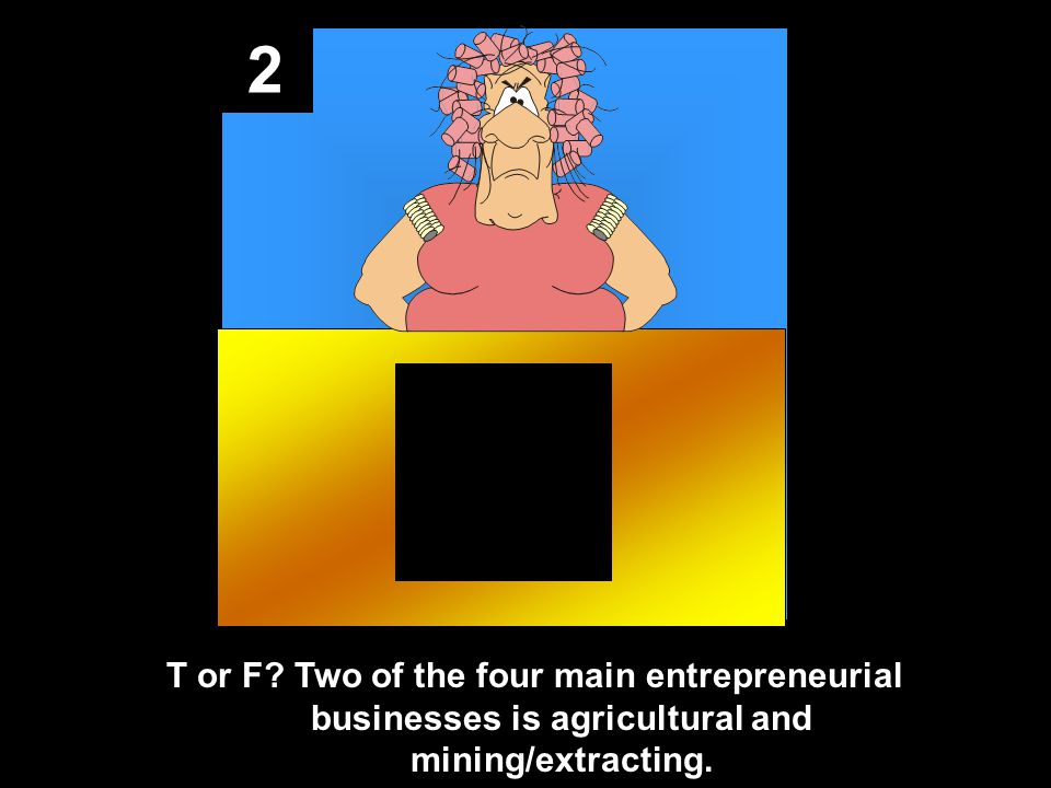 2 T or F Two of the four main entrepreneurial businesses is agricultural and mining/extracting.