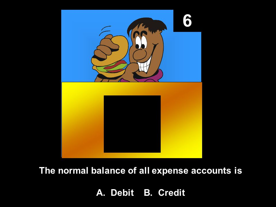 6 The normal balance of all expense accounts is A. Debit B. Credit