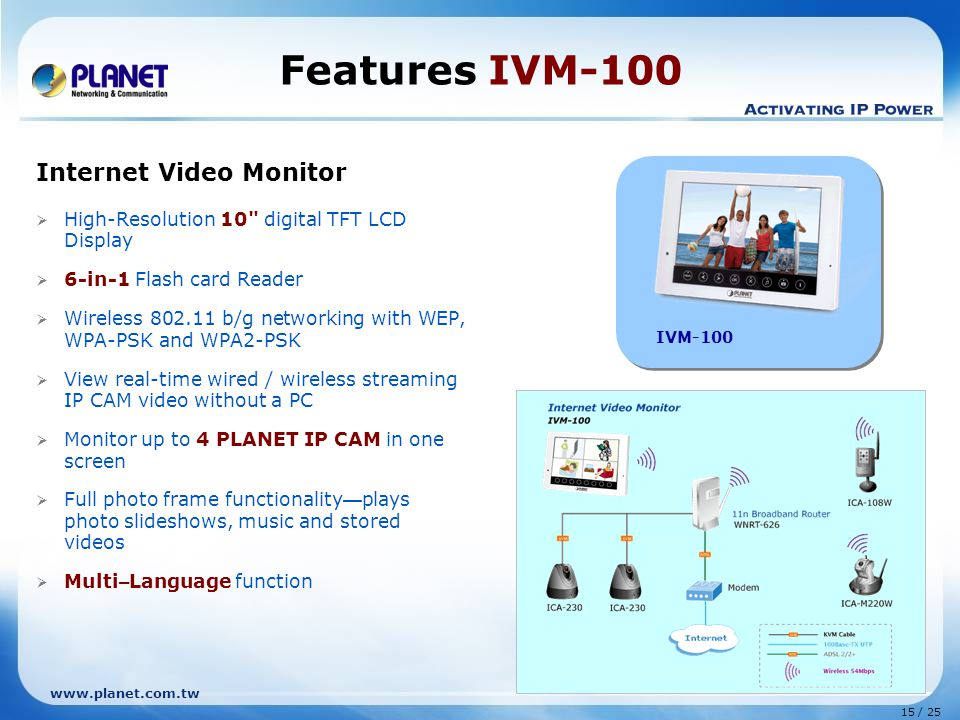 15 / 25 www.planet.com.tw Features IVM-100 Internet Video Monitor  High-Resolution 10 digital TFT LCD Display  6-in-1 Flash card Reader  Wireless 802.11 b/g networking with WEP, WPA-PSK and WPA2-PSK  View real-time wired / wireless streaming IP CAM video without a PC  Monitor up to 4 PLANET IP CAM in one screen  Full photo frame functionality — plays photo slideshows, music and stored videos  Multi – Language function IVM-100