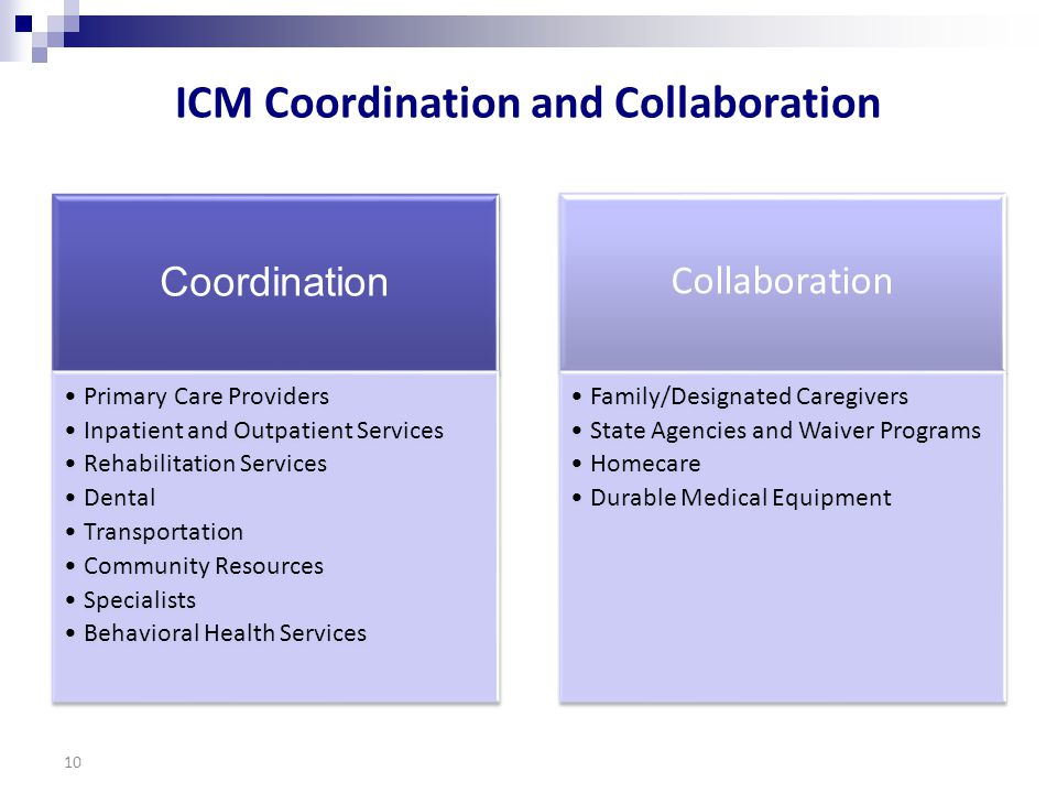 ICM Coordination and Collaboration Coordination Primary Care Providers Inpatient and Outpatient Services Rehabilitation Services Dental Transportation Community Resources Specialists Behavioral Health Services Collaboration Family/Designated Caregivers State Agencies and Waiver Programs Homecare Durable Medical Equipment 10