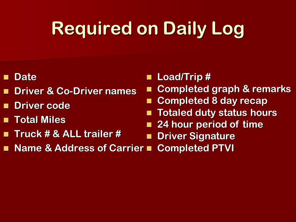 Required on Daily Log Date Date Driver & Co-Driver names Driver & Co-Driver names Driver code Driver code Total Miles Total Miles Truck # & ALL traile