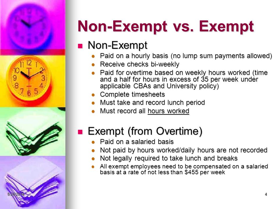48/24/20144 Non-Exempt vs.