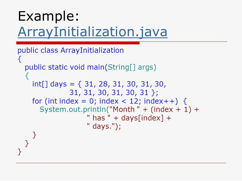 Alternate Array Declaration  Previously we showed arrays being declared: int[] numbers; However, the brackets can also go here: int numbers[]; These are equivalent but the first style is typical.