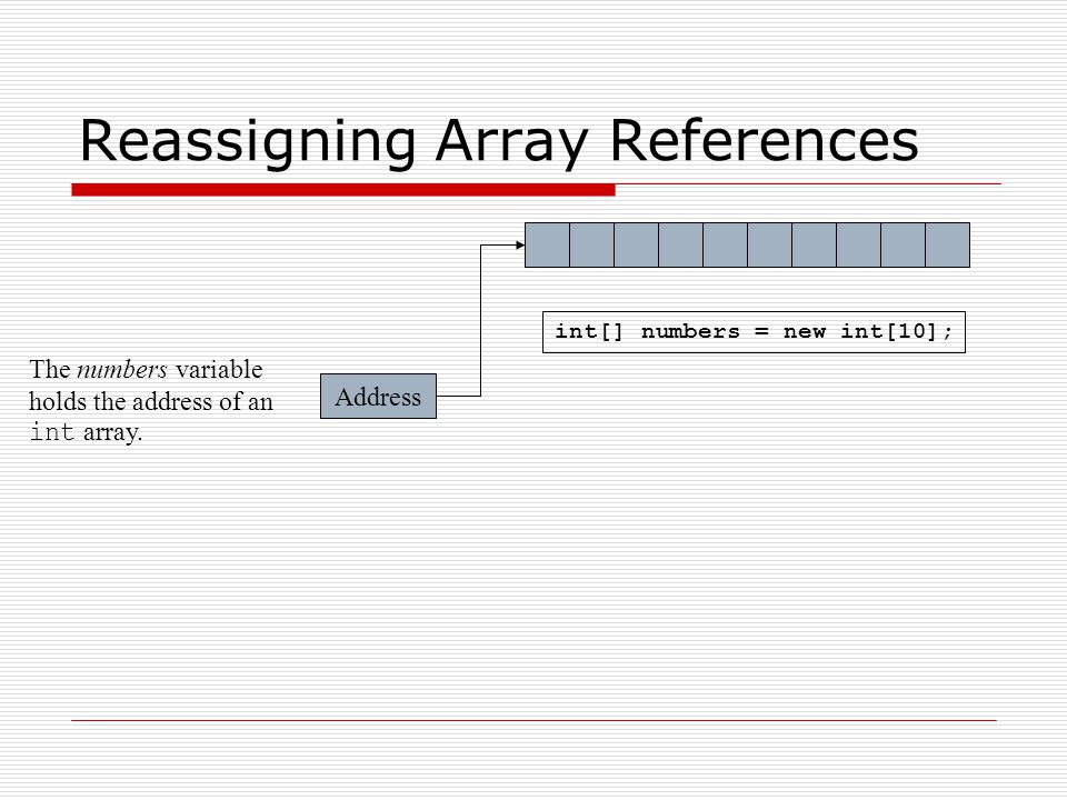 Reassigning Array References Address The numbers variable holds the address of an int array.