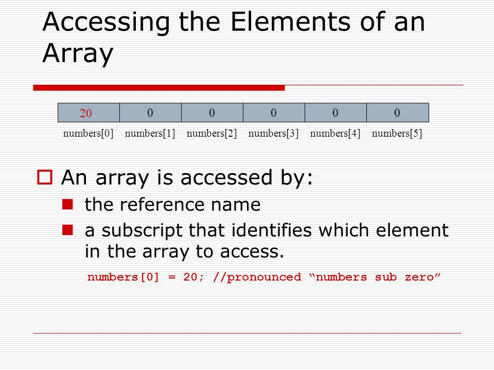 Inputting and Outputting Array Elements  Array elements can be treated as any other variable.
