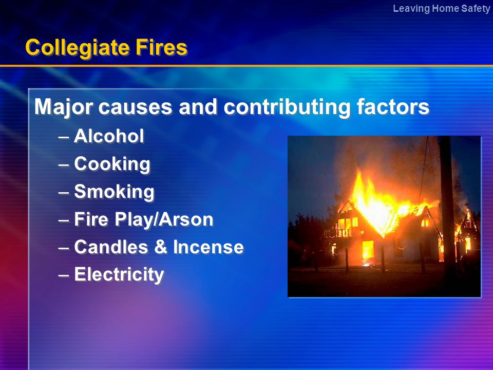 Leaving Home Safety Collegiate Fires Major causes and contributing factors –Alcohol –Cooking –Smoking –Fire Play/Arson –Candles & Incense –Electricity Major causes and contributing factors –Alcohol –Cooking –Smoking –Fire Play/Arson –Candles & Incense –Electricity