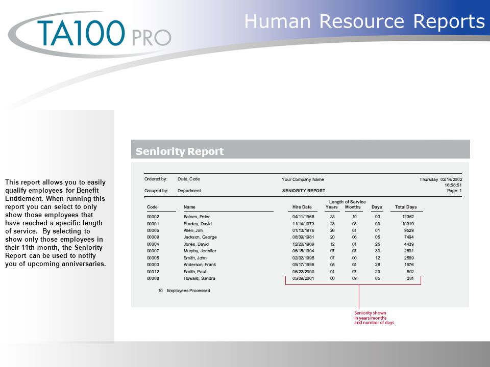 Human Resource Reports This report allows you to easily qualify employees for Benefit Entitlement.