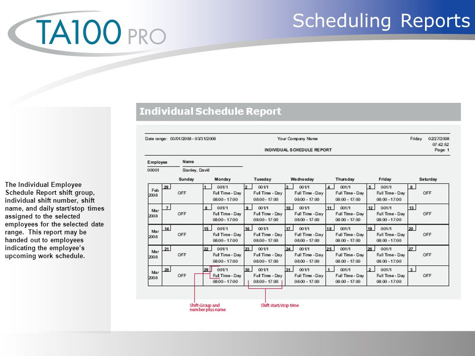 Scheduling Reports The Individual Employee Schedule Report shift group, individual shift number, shift name, and daily start/stop times assigned to the selected employees for the selected date range.