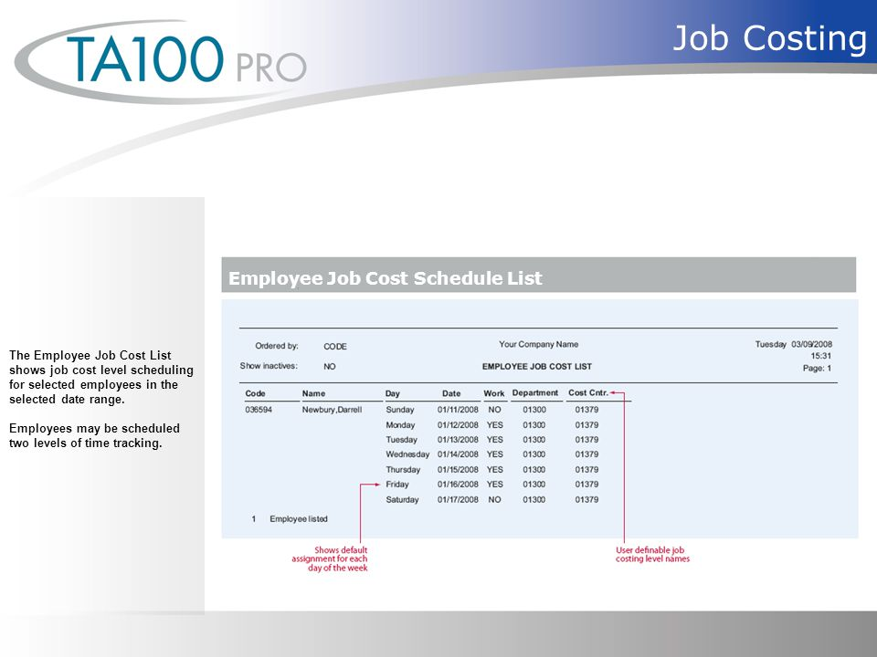 Job Costing The Employee Job Cost List shows job cost level scheduling for selected employees in the selected date range.