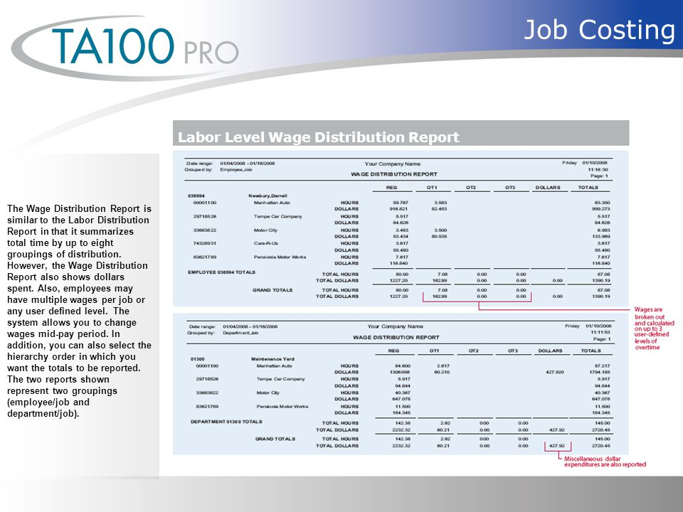 Job Costing The Wage Distribution Report is similar to the Labor Distribution Report in that it summarizes total time by up to eight groupings of distribution.