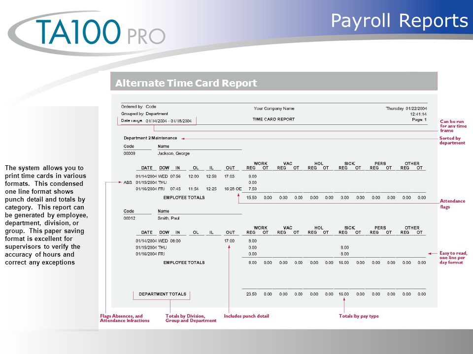 Payroll Reports Alternate Time Card Report The system allows you to print time cards in various formats.