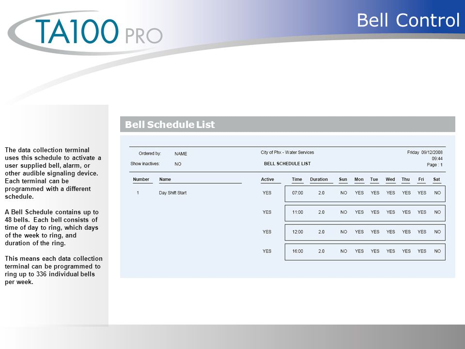 Bell Control The data collection terminal uses this schedule to activate a user supplied bell, alarm, or other audible signaling device.