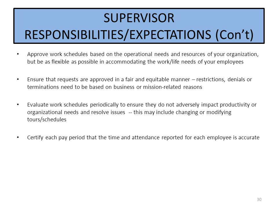 SUPERVISOR RESPONSIBILITIES/EXPECTATIONS (Con't) Approve work schedules based on the operational needs and resources of your organization, but be as flexible as possible in accommodating the work/life needs of your employees Ensure that requests are approved in a fair and equitable manner – restrictions, denials or terminations need to be based on business or mission-related reasons Evaluate work schedules periodically to ensure they do not adversely impact productivity or organizational needs and resolve issues -- this may include changing or modifying tours/schedules Certify each pay period that the time and attendance reported for each employee is accurate 30