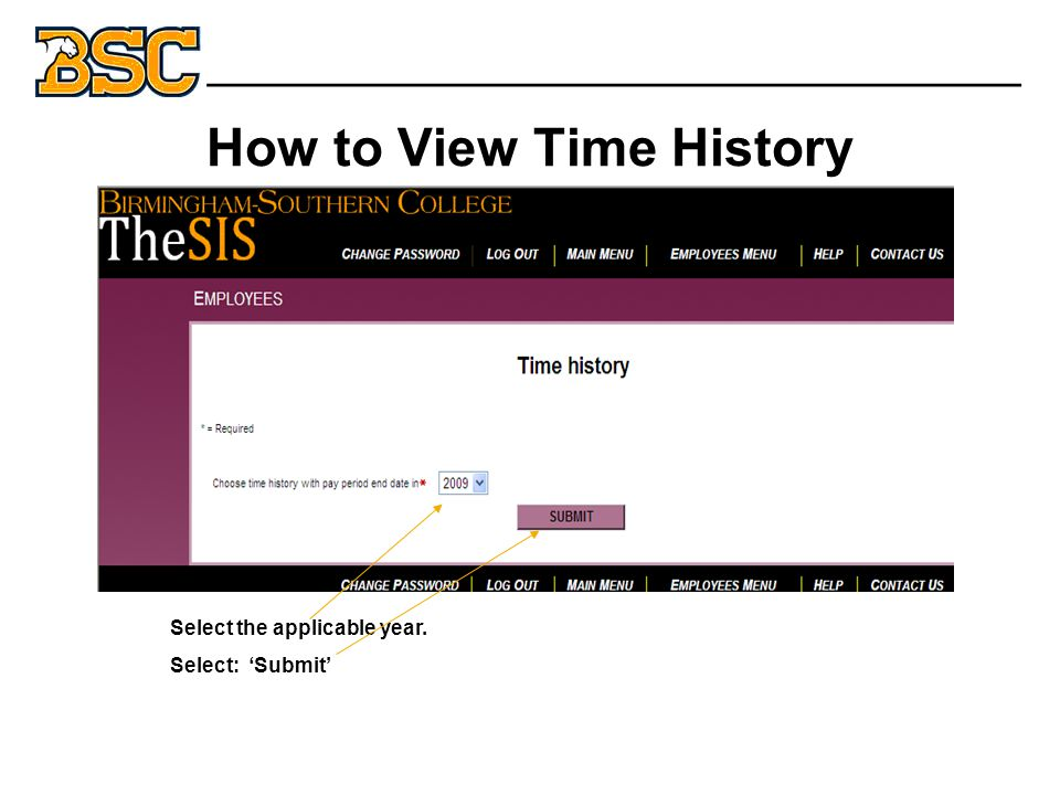 How to View Time History _______________________________ Select the applicable year.