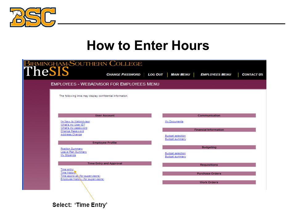 How to Enter Hours Select: 'Time Entry' Welcome M. Student _______________________________