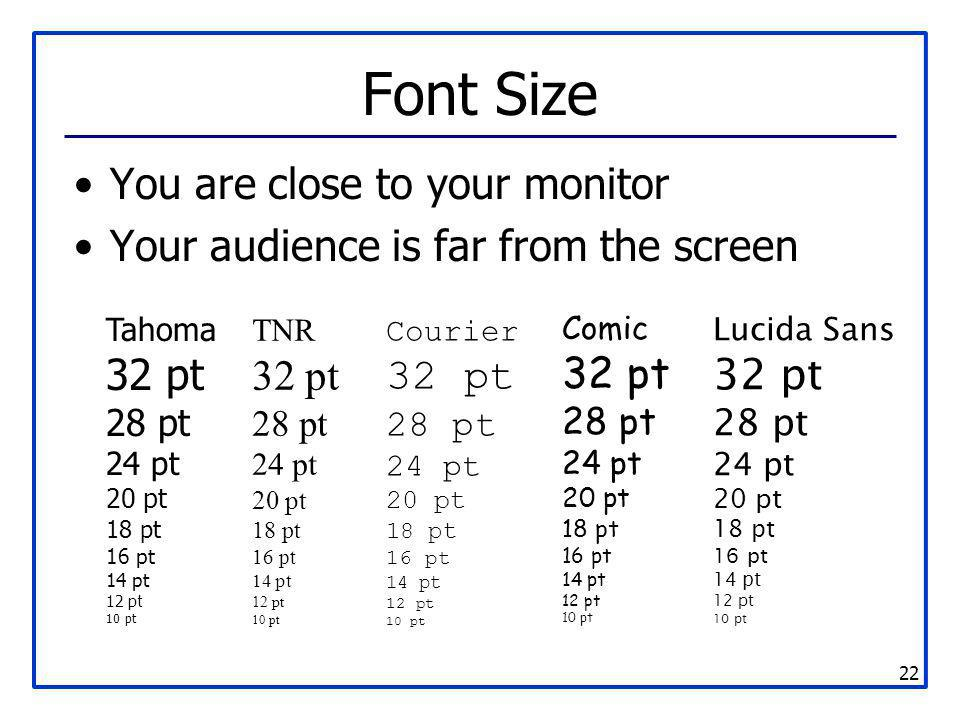 22 Font Size You are close to your monitor Your audience is far from the screen Tahoma 32 pt 28 pt 24 pt 20 pt 18 pt 16 pt 14 pt 12 pt 10 pt TNR 32 pt