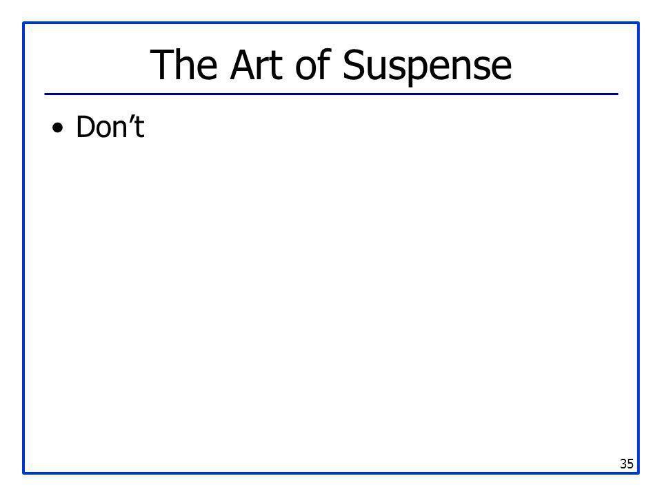 35 The Art of Suspense Don't