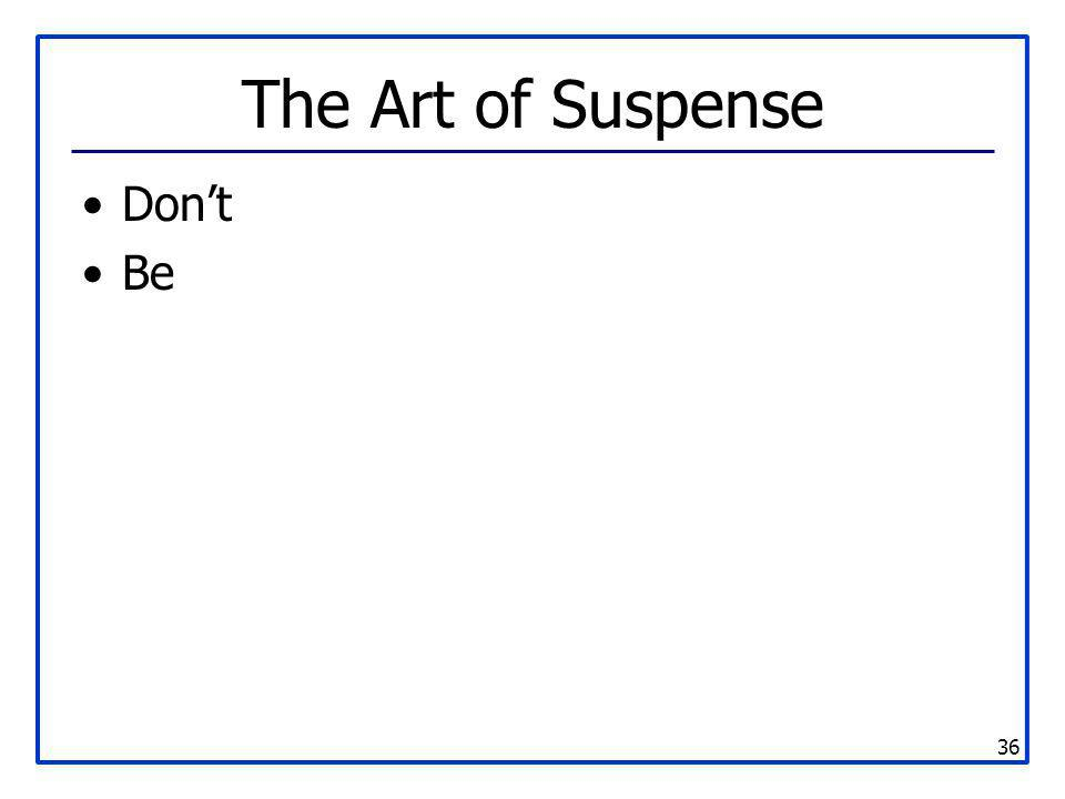 36 The Art of Suspense Don't Be