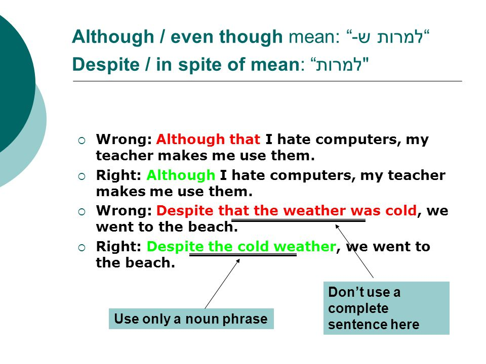 Although / even though mean: למרות ש- Despite / in spite of mean: למרות  Wrong: Although that I hate computers, my teacher makes me use them.