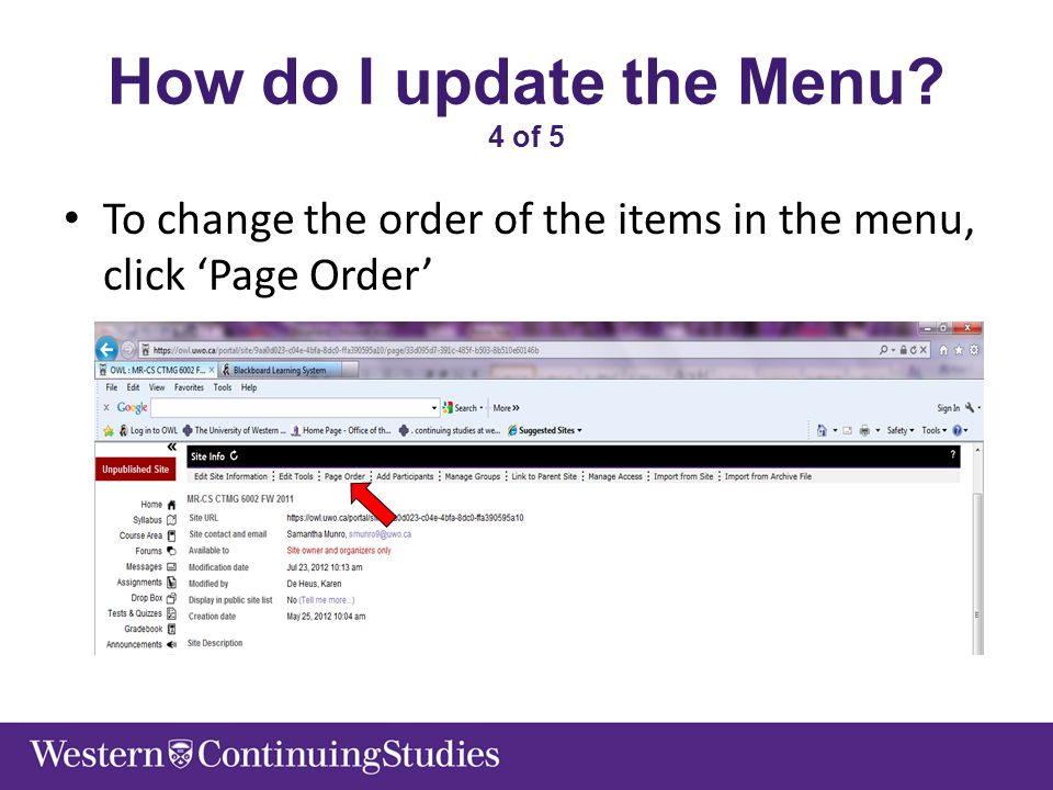 How do I update the Menu 4 of 5 To change the order of the items in the menu, click 'Page Order'