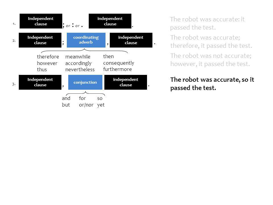 independent clause The robot was accurate: it passed the test..
