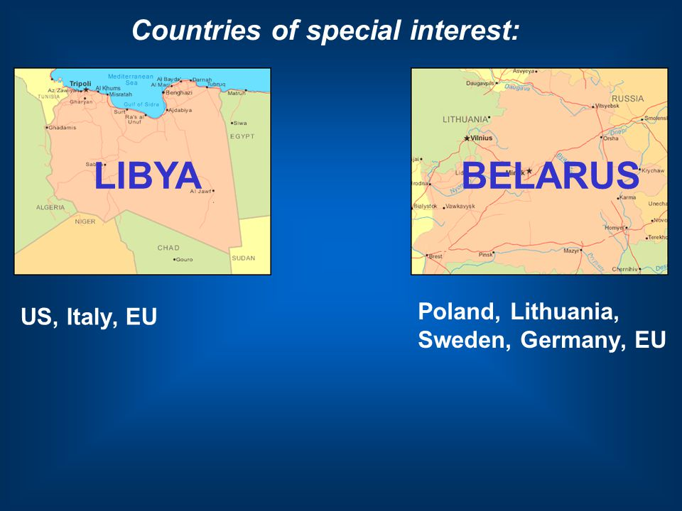 LIBYA Countries of special interest: US, Italy, EU BELARUS Poland, Lithuania, Sweden, Germany, EU
