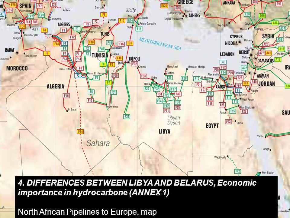 4. DIFFERENCES BETWEEN LIBYA AND BELARUS, Economic importance in hydrocarbone (ANNEX 1) North African Pipelines to Europe, map