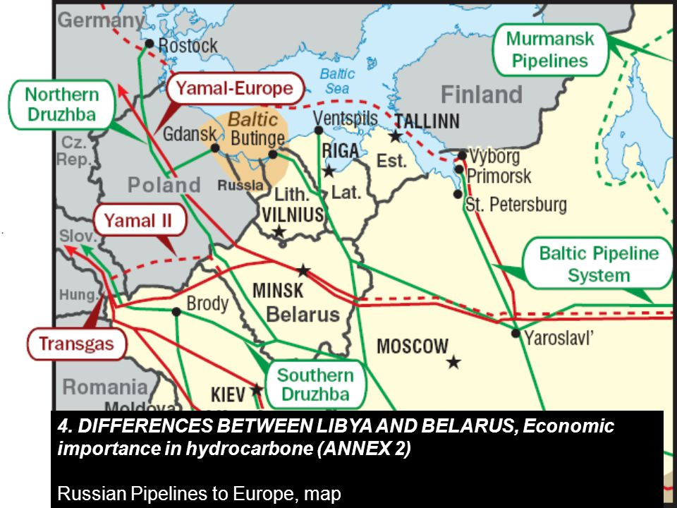 4. DIFFERENCES BETWEEN LIBYA AND BELARUS, Economic importance in hydrocarbone (ANNEX 2) Russian Pipelines to Europe, map