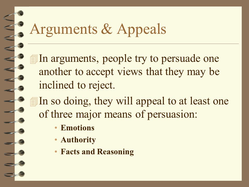 Arguments & Appeals 4 In arguments, people try to persuade one another to accept views that they may be inclined to reject.
