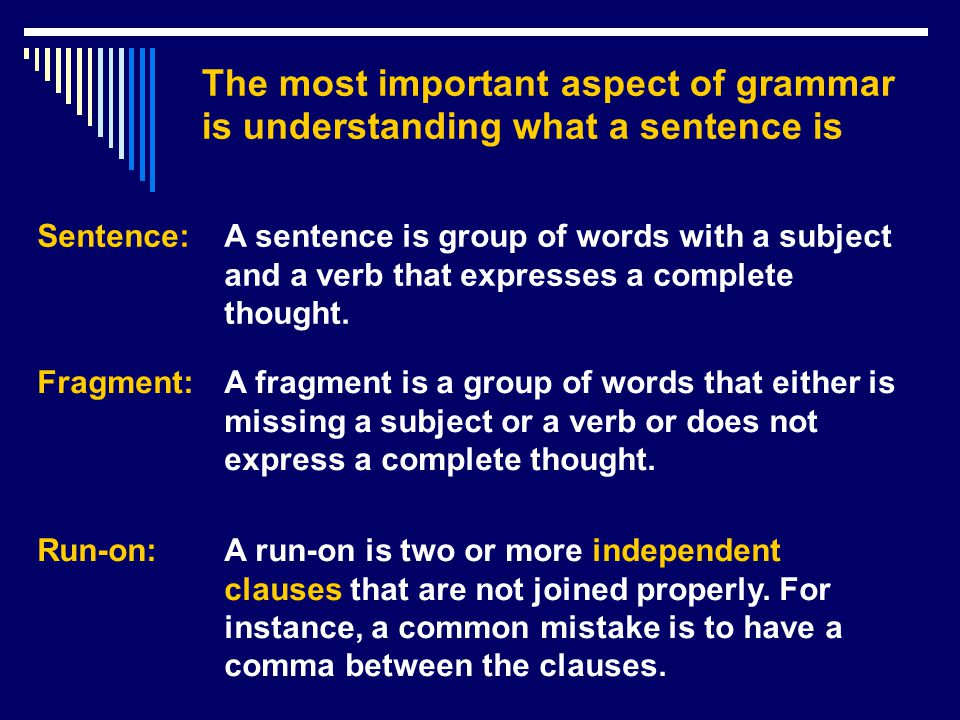 Which are sentences (S), fragments (F), or run-ons (RO).
