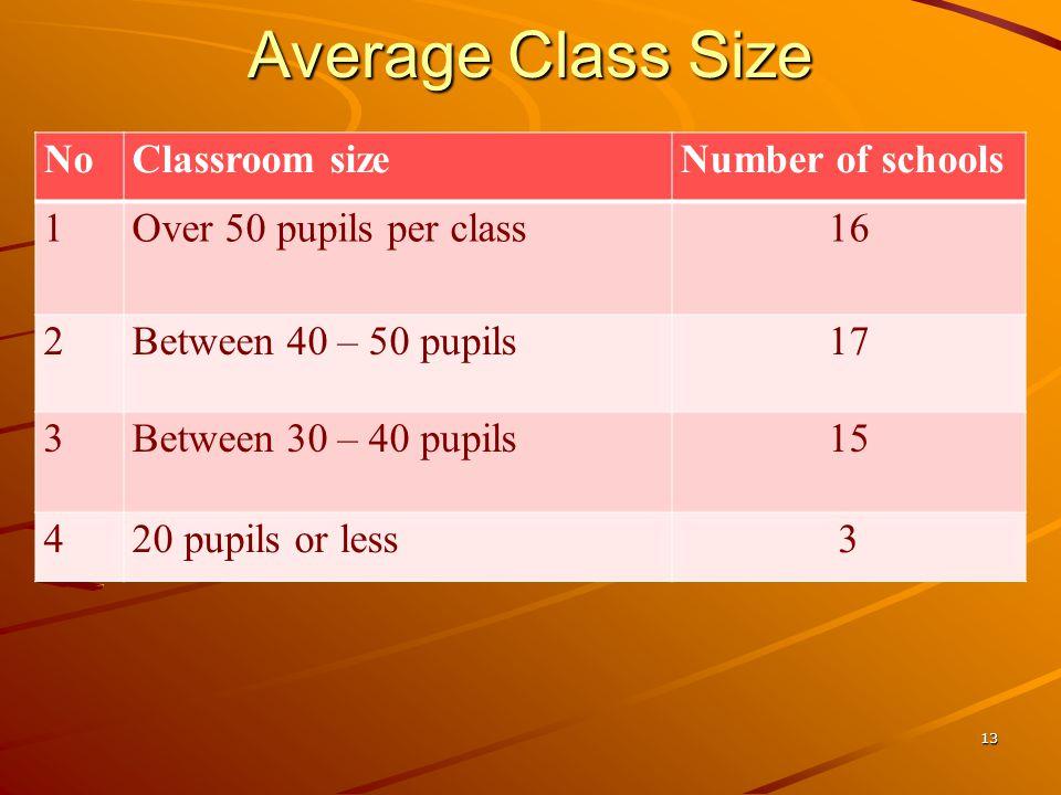Average Class Size NoClassroom sizeNumber of schools 1Over 50 pupils per class16 2Between 40 – 50 pupils17 3Between 30 – 40 pupils15 420 pupils or less3 13