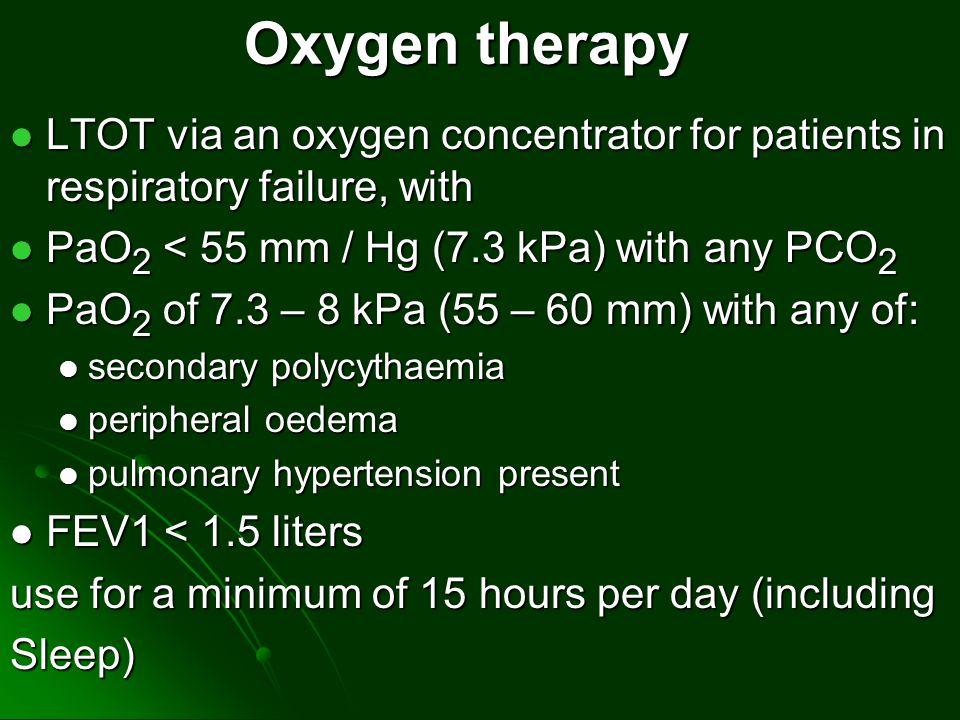 LTOT via an oxygen concentrator for patients in respiratory failure, with LTOT via an oxygen concentrator for patients in respiratory failure, with Pa