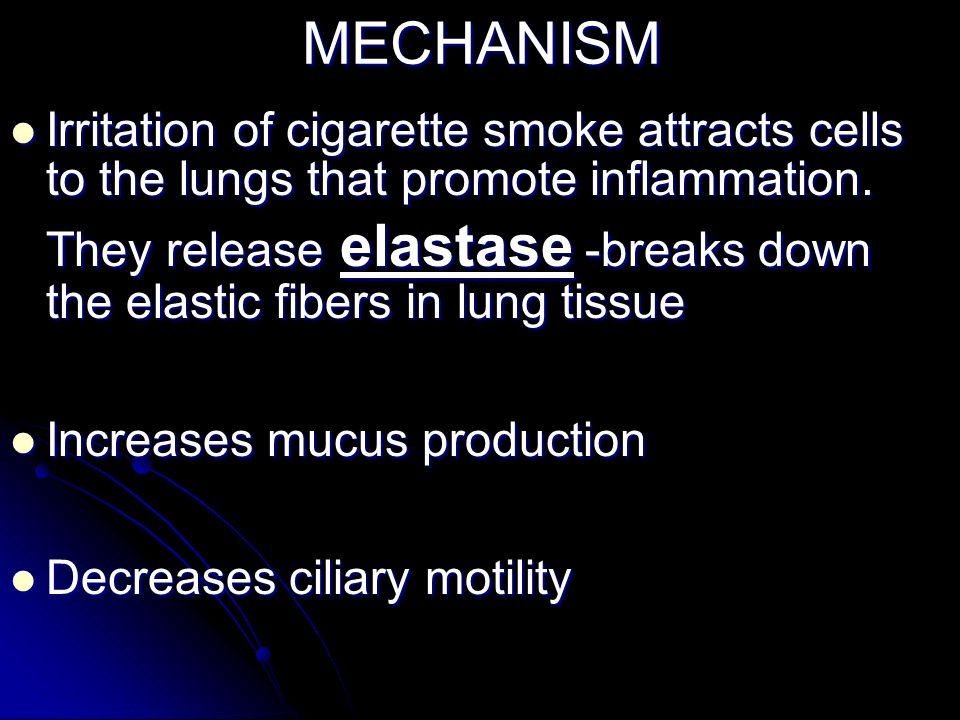 MECHANISM Irritation of cigarette smoke attracts cells to the lungs that promote inflammation. Irritation of cigarette smoke attracts cells to the lun