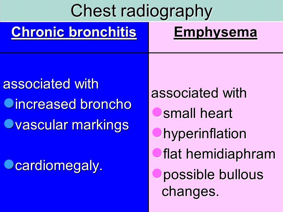 Chest radiography Chronic bronchitis associated with increased broncho increased broncho vascular markings vascular markings cardiomegaly. cardiomegal