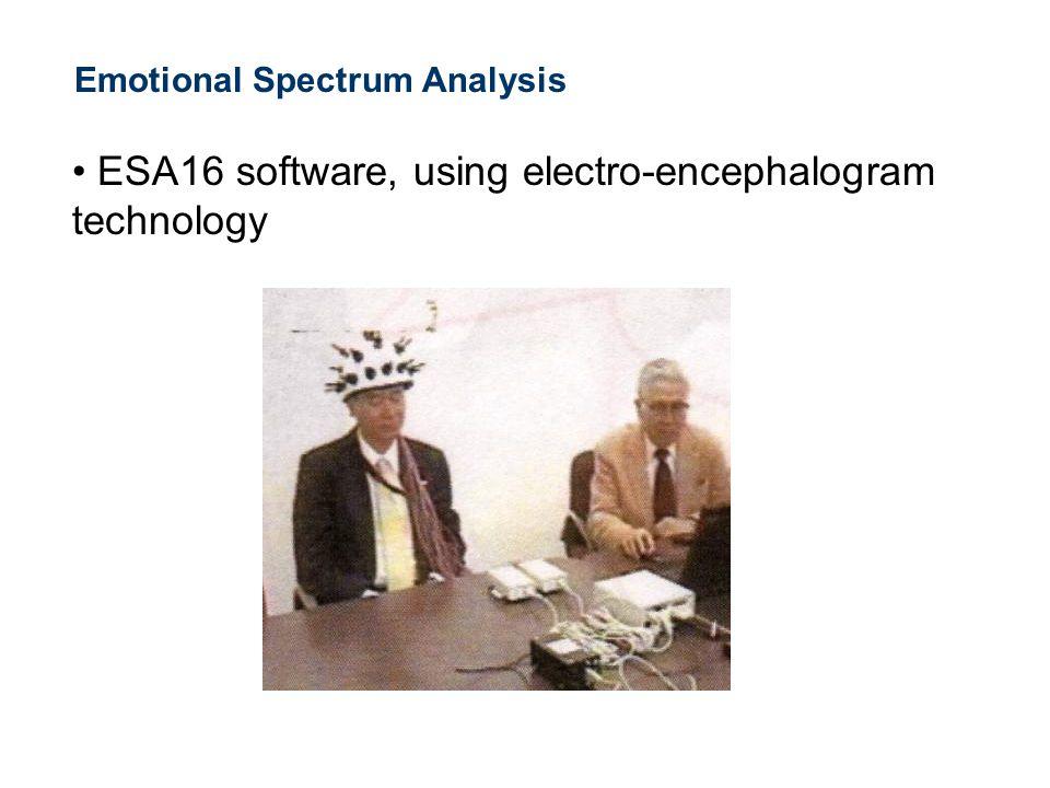 Emotional Spectrum Analysis ESA16 software, using electro-encephalogram technology