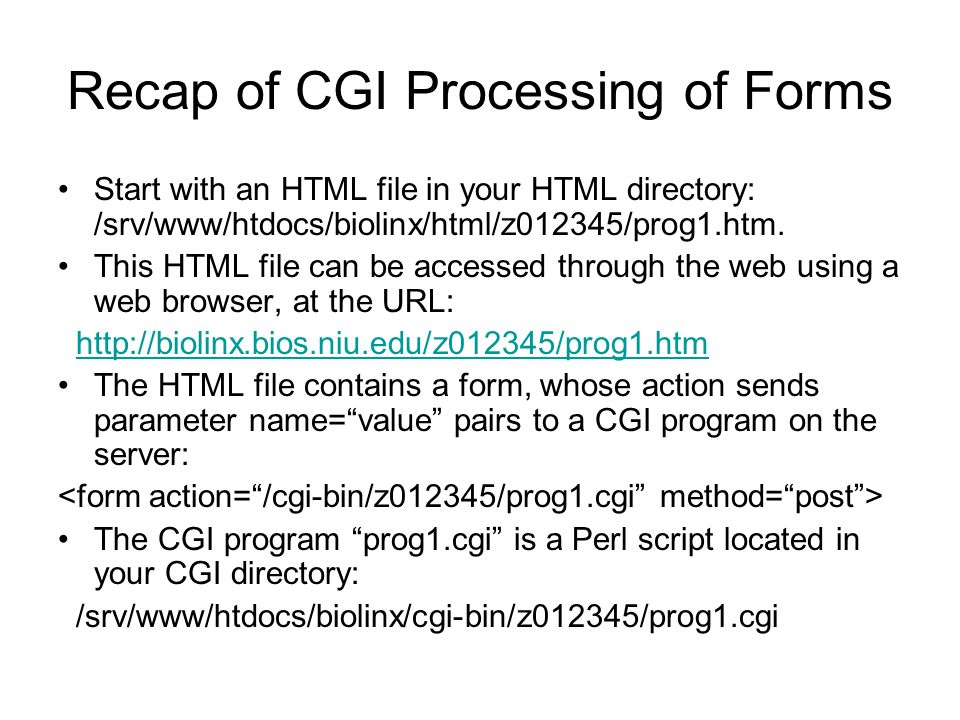Recap of CGI Processing of Forms Start with an HTML file in your HTML directory: /srv/www/htdocs/biolinx/html/z012345/prog1.htm. This HTML file can be