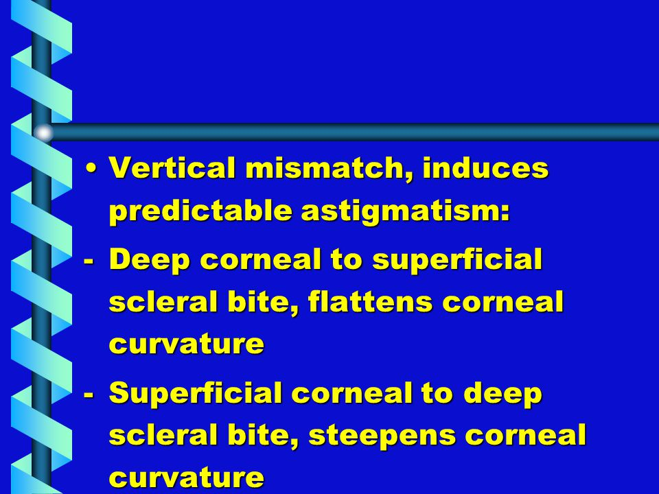 Vertical mismatch, induces predictable astigmatism:Vertical mismatch, induces predictable astigmatism: -Deep corneal to superficial scleral bite, flat