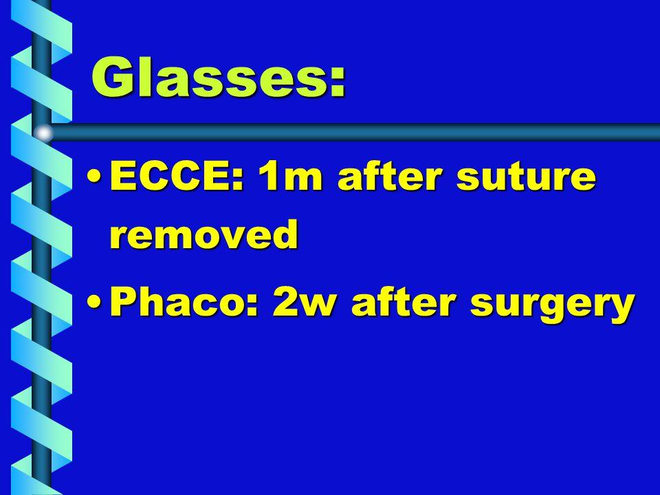 Glasses: ECCE: 1m after suture removedECCE: 1m after suture removed Phaco: 2w after surgeryPhaco: 2w after surgery
